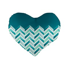 Zigzag pattern in blue tones Standard 16  Premium Flano Heart Shape Cushions