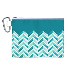 Zigzag pattern in blue tones Canvas Cosmetic Bag (L)