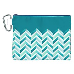 Zigzag pattern in blue tones Canvas Cosmetic Bag (XXL)