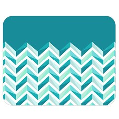 Zigzag pattern in blue tones Double Sided Flano Blanket (Medium)