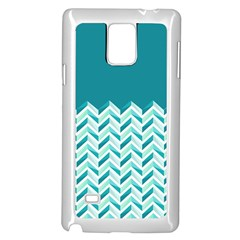Zigzag pattern in blue tones Samsung Galaxy Note 4 Case (White)