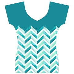 Zigzag pattern in blue tones Women s V-Neck Cap Sleeve Top