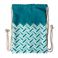 Zigzag pattern in blue tones Drawstring Bag (Large)