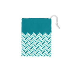 Zigzag pattern in blue tones Drawstring Pouches (XS)