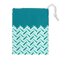 Zigzag pattern in blue tones Drawstring Pouches (Extra Large)