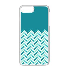 Zigzag Pattern In Blue Tones Apple Iphone 7 Plus White Seamless Case