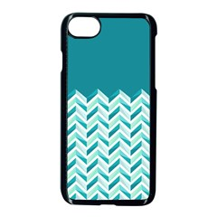 Zigzag Pattern In Blue Tones Apple Iphone 7 Seamless Case (black)
