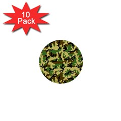 Camo Woodland 1  Mini Buttons (10 pack)