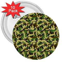 Camo Woodland 3  Buttons (10 Pack)