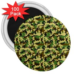 Camo Woodland 3  Magnets (100 pack)