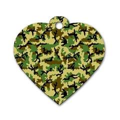 Camo Woodland Dog Tag Heart (One Side)