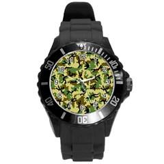 Camo Woodland Round Plastic Sport Watch (L)