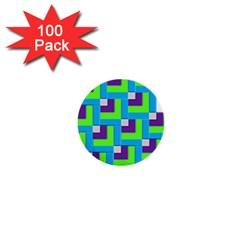 Geometric 3d Mosaic Bold Vibrant 1  Mini Buttons (100 Pack)