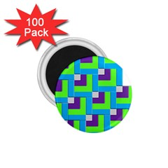 Geometric 3d Mosaic Bold Vibrant 1 75  Magnets (100 Pack)