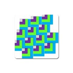 Geometric 3d Mosaic Bold Vibrant Square Magnet