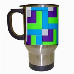 Geometric 3d Mosaic Bold Vibrant Travel Mugs (white)