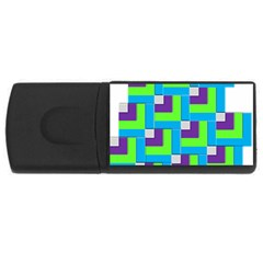 Geometric 3d Mosaic Bold Vibrant Usb Flash Drive Rectangular (4 Gb)