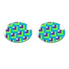 Geometric 3d Mosaic Bold Vibrant Cufflinks (oval)