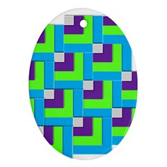 Geometric 3d Mosaic Bold Vibrant Oval Ornament (two Sides)