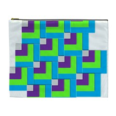 Geometric 3d Mosaic Bold Vibrant Cosmetic Bag (xl)
