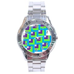 Geometric 3d Mosaic Bold Vibrant Stainless Steel Analogue Watch