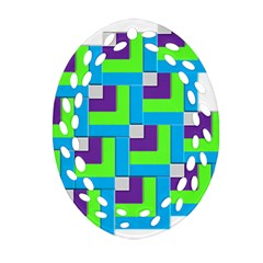 Geometric 3d Mosaic Bold Vibrant Oval Filigree Ornament (Two Sides)