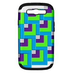 Geometric 3d Mosaic Bold Vibrant Samsung Galaxy S Iii Hardshell Case (pc+silicone)