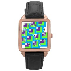 Geometric 3d Mosaic Bold Vibrant Rose Gold Leather Watch