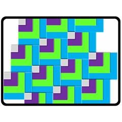 Geometric 3d Mosaic Bold Vibrant Double Sided Fleece Blanket (large)