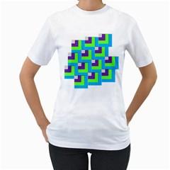 Geometric 3d Mosaic Bold Vibrant Women s T Shirt (white)