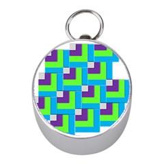 Geometric 3d Mosaic Bold Vibrant Mini Silver Compasses