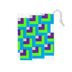 Geometric 3d Mosaic Bold Vibrant Drawstring Pouches (medium)