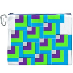 Geometric 3d Mosaic Bold Vibrant Canvas Cosmetic Bag (xxxl)