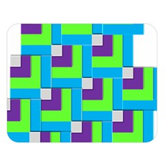 Geometric 3d Mosaic Bold Vibrant Double Sided Flano Blanket (large)