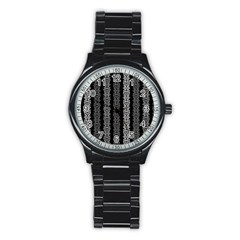 Pattern Stainless Steel Round Watch