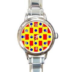 Pattern Design Backdrop Round Italian Charm Watch