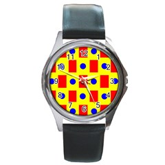 Pattern Design Backdrop Round Metal Watch