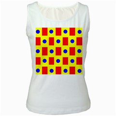 Pattern Design Backdrop Women s White Tank Top