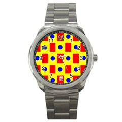 Pattern Design Backdrop Sport Metal Watch