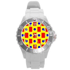 Pattern Design Backdrop Round Plastic Sport Watch (l)