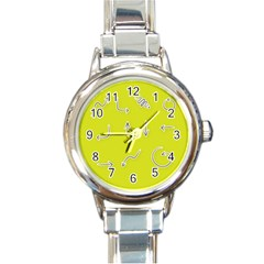 Arrow Line Sign Circle Flat Curve Round Italian Charm Watch