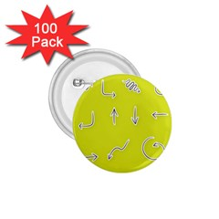Arrow Line Sign Circle Flat Curve 1.75  Buttons (100 pack)