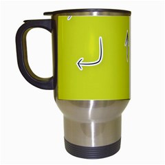 Arrow Line Sign Circle Flat Curve Travel Mugs (White)