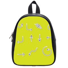 Arrow Line Sign Circle Flat Curve School Bags (small)