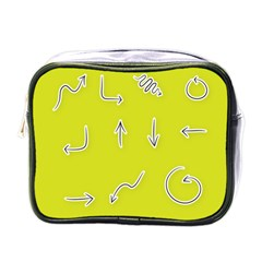Arrow Line Sign Circle Flat Curve Mini Toiletries Bags