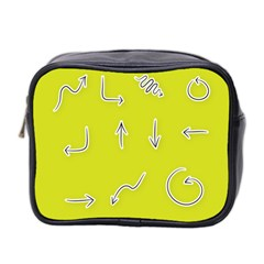 Arrow Line Sign Circle Flat Curve Mini Toiletries Bag 2 Side