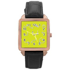 Arrow Line Sign Circle Flat Curve Rose Gold Leather Watch