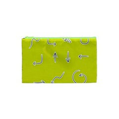 Arrow Line Sign Circle Flat Curve Cosmetic Bag (xs)