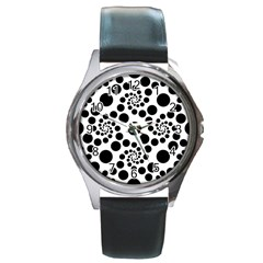Dot Dots Round Black And White Round Metal Watch