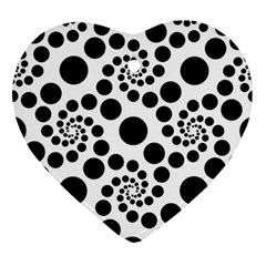 Dot Dots Round Black And White Ornament (heart)